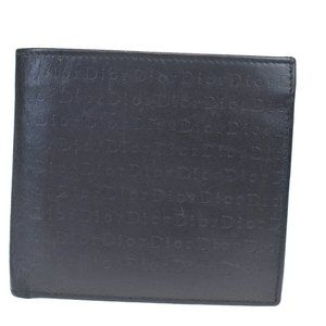 Christian Dior Logos Bifold Wallet Purse Leather